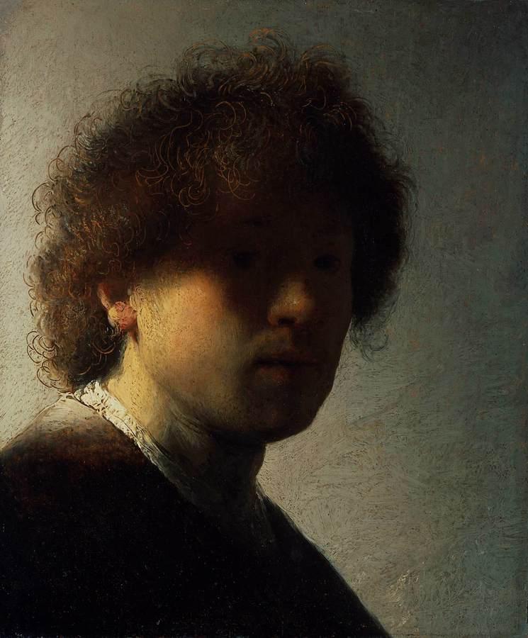 Autoportrait de Rembrandt dans la pénombre