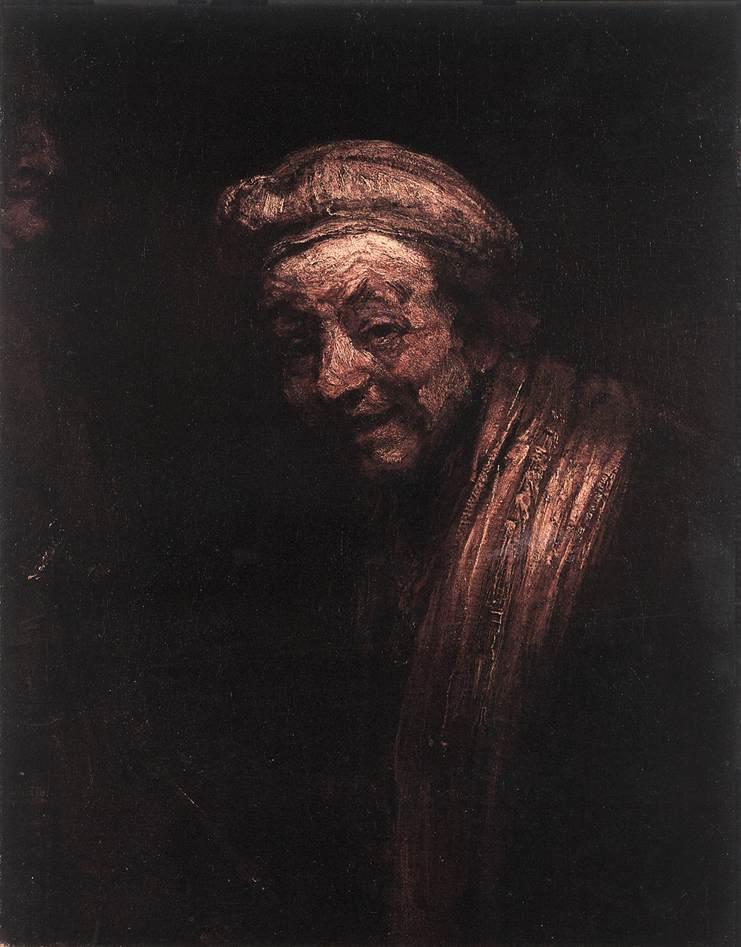 Autoportrait de Rembrandt en Démocrite ou philosophe riant